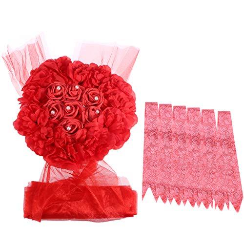 Amosfun Künstliche Blumen Arrangement Hochzeit Auto Dekoration Romantische Hochzeit Tischdekoration Hochzeit Girlande Set (Rot) (Autos Tischdekoration)