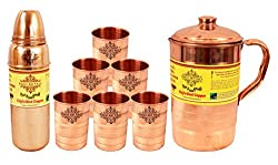 IndianArtVilla Copper Jug Pitcher & Thermos Design Bottle & 6 Glass Tumbler Drinkware, Yoga, 8 Pieces
