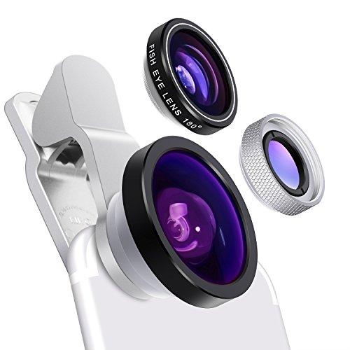 0.4X Super Weitwinkelobjektiv, 180 Grad Fisheye Objektiv und 10X Makroobjektiv,Yarrashop universal 3 in 1 Clip on Handy Kamera Linsen Set f¨¹r IPhone, Samsung, Huawei und anderen Smartphones(Silber)