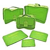 Ducomi® Elite Traveler - Set di 6 Organizzatori da Viaggio Impermeabili per Valigie ideali per Indumenti, Scarpe, Cosmetici, Intimo e Biancheria (Green)