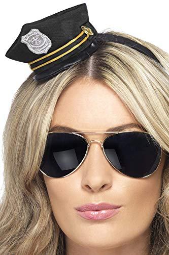 Smiffys Damen Mini Polizei Hut auf Haarreif, One Size, Schwarz, ()