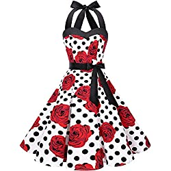 Dresstells Version3.0 Vintage 1950's Audrey Hepburn pin-up Robe de soirée Cocktail, Style Halter années 50 White Red Rose Dot XS