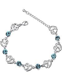 8173b346231 Swarovski Elementos Cristal Azul de enclavamiento doble Corazón Chapado en  Plata de ley con circonita Pulsera