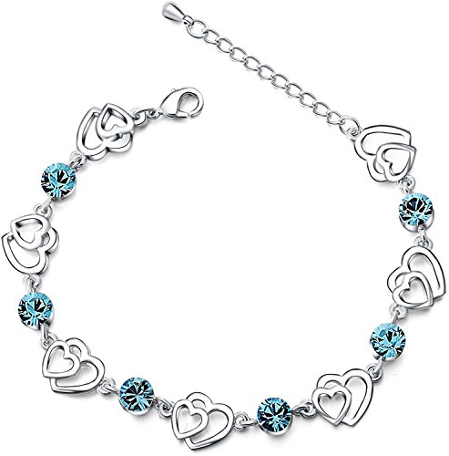 Swarovski Elements Blau Kristall Interlocking Double Heart Armband mit Sterling Silber Zirkonia