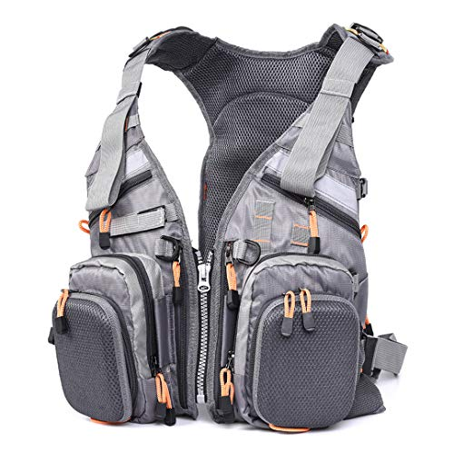 Fly Fishing Vest Multifunction Mesh Breathable Fishing Vest Fast Drying Lure Reel Fishing Gear Vests Gray Mesh-fly Fishing Vest