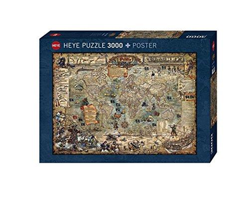 Heye 29526 - Standardpuzzle, Rajko Zigic, Pirate World, 3000 Teile (Weltkarte-puzzle 3000)