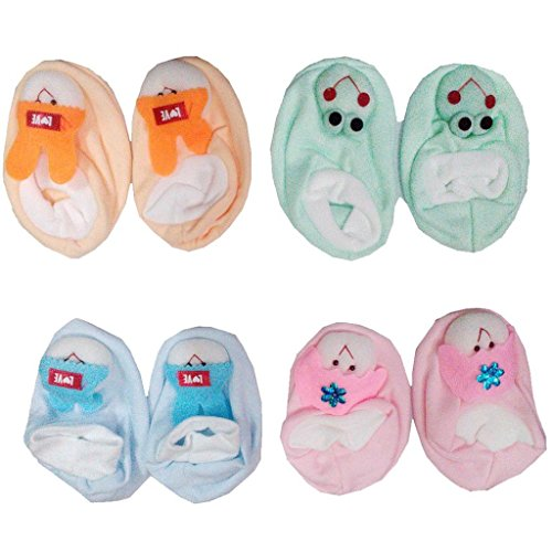 Baby Basics Boy's and Girl's Cotton Booties BB-268_Multicolour_Newborn - Pair of 4