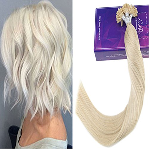 LaaVoo Extension mit Keratin Sticks Hot Fusion Human Hair Extensions 40cm Real Remi U Tip Bondings 100 Strahnen/Set 50g Echthaar Extensions Platinblond #60 (Hair Extensions Human Hair Remi)