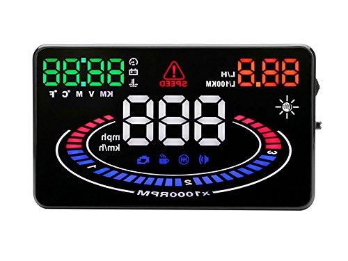 Kobwa COCHE Hud Head Up Display de 5,5, E300multifunción con 2d Vision reflexión pantalla coche OBD2interfaz Plug and Play KM/h MPH velocidad ADVERTENCIA