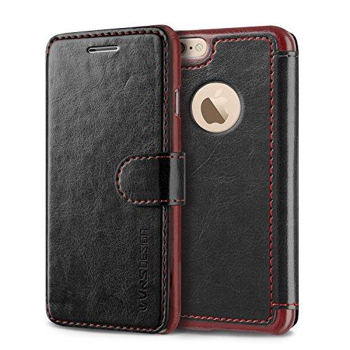 Étui iPhone 6 / 6s, VRS Dandy Layered Housse Téléphone [avec Fente pour Cartes] Coque Apple iPhone 6 / 6s Case Noir-Bordeaux Smartphone Noir/Bordeaux