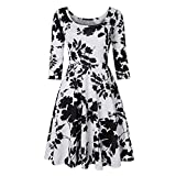 SamMoSon Damen Kleid Sommer Elegant Kleider Knielang Festlich Hochzeit Partykleid Rockabilly Retro Cocktailkleid Sommerkleid Abendkleid Gestreift Nähen Bohemien Langarm Langes Maxi Dress