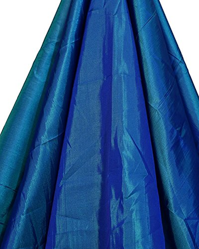Nilkanth Knitting Plain Cloth for Women's Saree of PAPER Silk Greenish Blue...