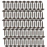 Poualss 100 Pezzi Chiodi a Testa Tonda Perni in Ottone Anticato Graffe di Ferro Fissaggi per Mobili Porta del Tamburo in Legno