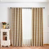 Diadia Leaves Sheer Curtain Tulle Window Treatment Voile Drape Valance 1 Panel Fabric for Bedroom Home - Size (L x W): 200cm x 100cm (Yellow)