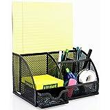 MyGift multi-usage en métal grillagé noir Organiseur de bureau - 6 compartiments-Boîte de fourniture de bureau