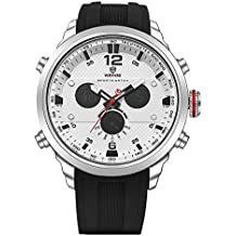 WEIDE hombres de cuarzo Casual Relojes analógico Digital Deportivo reloj de pulsera impermeable militar Ejército reloj (plata/blanco)