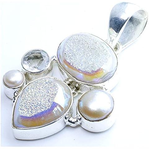stargems (TM) naturale titanio Druzy, con perle di fiume, topazio bianco design unico 925argento Sterling ciondolo 21/2