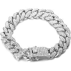 """Halukakah ● Bling ● Le Bracelet de Homme Plaqué Platine Diamant Artificiel Serti Grande Chaîne Cubaine 8""""(20cm) avec Le Boîte-Cadeau Gratuit"""