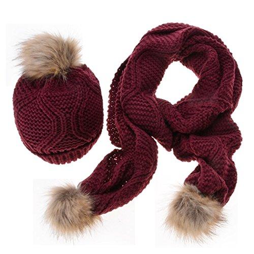 Romanstii - Ensemble bonnet, écharpe et gants - Femme rouge vin