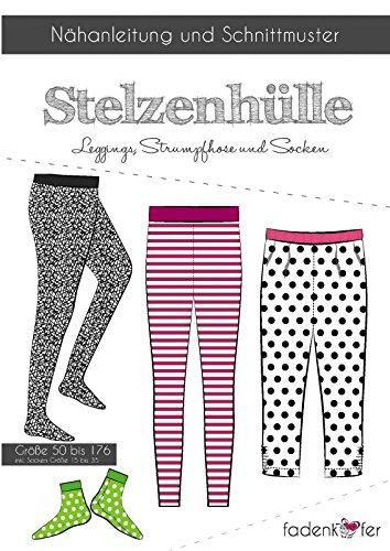 äfer Stelzenhülle Gr.50-176 Kinder Leggings Strumpfhose inkl.Socken Gr.15-35 selber nähen Papierschnittmuster (Nähen Muster Leggings)