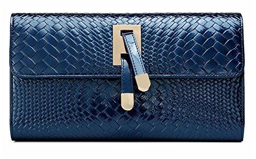Xinmaoyuan Portafogli donna Borse in pelle spalla catena pacchetto cena Vacchetta Borsa obliquo,Nero Blue