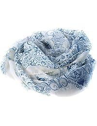 EJY Femme Foulards en mousseline de soie longue souple Foulard en soie Wrap Châle,impression chinoise, rétro