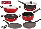 #4: Nirlon Non-Stick Aluminium Cookware Set, 6-Pieces, Red/Black (FT12CTFP12KD13DKDBSP_46_3)