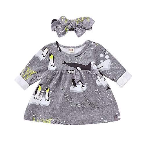 en Pinguin gemusterten Kleid mit Bogen Stirnband 2 Stück Outfits Kleidung Set (80/12-18M, Grau) ()