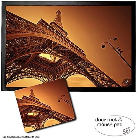 Set: 1 Fußmatte Türmatte (60x40 cm) + 1 Mauspad (23x19 cm) - Paris, Eiffelturm In Der Morgenröte