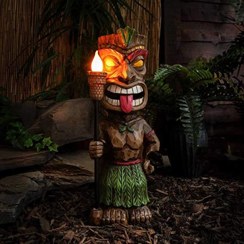 erfeste Outdoor Leuchten – Maori-Hawaii-Tiki-Design – inkl. Akkus, integrierten Solarpaneelen mit Dämmerungsschalter, von Festive Lights (Kultfigur männlich mit Flackerlicht) ()