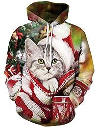 237abcb82c Siennaa Weihnachten Pullover Unisex, Herren Damen Weihnachtspulli Katze 3D  Druck Ugly Christmas Sweatshirt Rudolph Rentier Xmas Pulli…