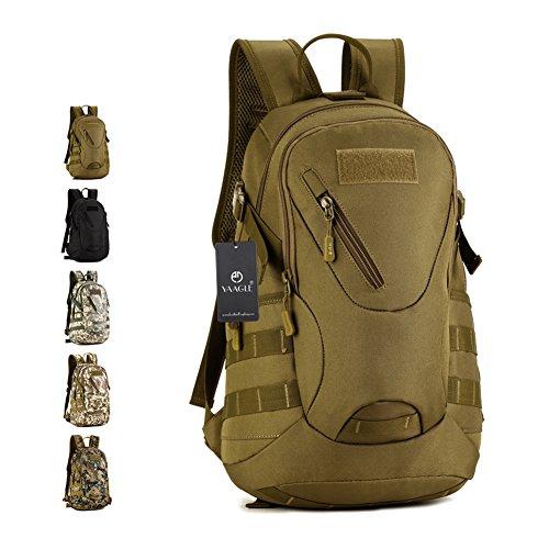 YAAGLE 20 L militärisch klein Gepäck Rucksack outdoor Reisetasche Fahrradrucksack Schultertasche Schüler Schultasche-braun (Junior Bag Handtaschen Army)