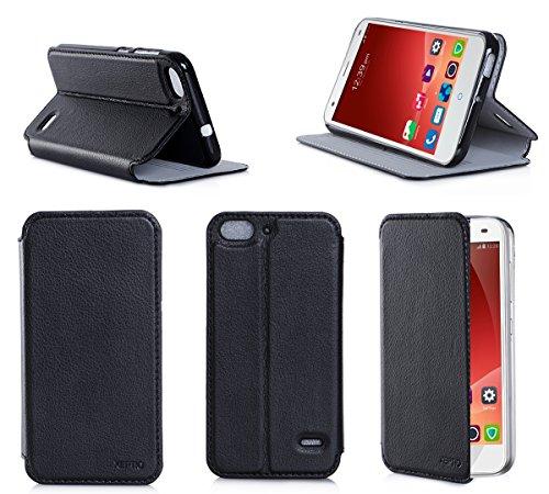 Etui luxe ZTE Blade S6 4G noir Ultra Slim Cuir Style avec stand - Housse coque de protection ZTE Blade S6 Wifi/3G/4G/LTE (nouveau smartphone 2015) 8/16/32/64 noire - Prix découverte accessoires pochette XEPTIO : Exceptional case !