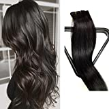 18 inches , #1B : Myfashionhair Clip in Hair Extensions Real Human Hair Extensions 18 inches 70g Natural Black Clip on for Fine Hair Full Head 7 pieces Silky Straight Weft Remy Hair (18 inches, #1B)