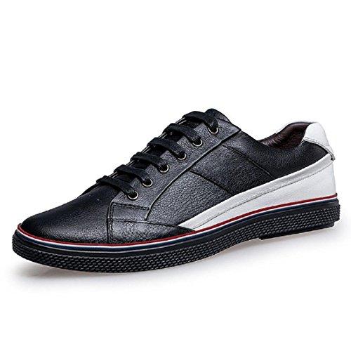 Hommes Anti-slip Chaussures Décontractées Ballerines Sport Chaussures Loisirs En Cuir Chaussures Formateurs Grande Taille Euro Dimension 38-46 Noir