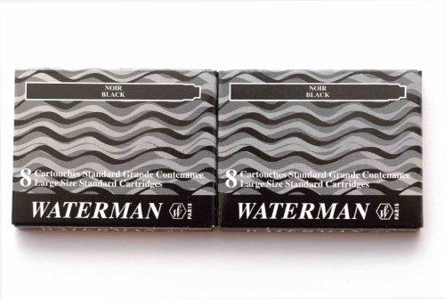 Waterman–2Packungen mit 8langen UGC Tintenpatronen schwarz
