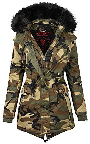 Marikoo Damen Designer Winter Jacke warme Winterjacke Parka Mantel B390 (M, Camouflage - Army) Camo Winter Parka