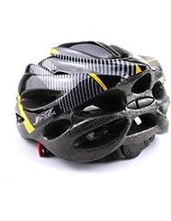 honeysuck al aire libre Casco Ciclismo seguro carbono sombrero con visera 19agujeros para bicicleta Bike (negro con amarillo)
