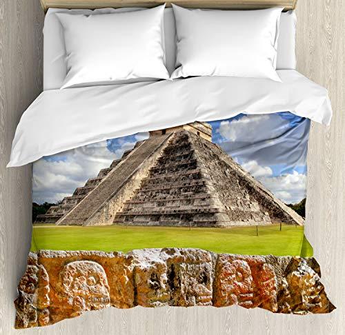 ABAKUHAUS altertümlich Bettbezug Set King Size, Wand der Schädel-Pyramide, Kuscheligform Top Qualität 3 Teiligen Bettbezug mit 2 Kissenbezüge, Anthrazit grau und Lindgrün -