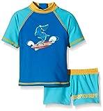 Aquatinto Baby - Jungen Badeshirt und -hose mit Hai-Print, UV +50, Gr. 86 (Herstellergröße: 86/92), Mehrfarbig (türkis/dunkelblau)