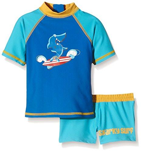 Aquatinto Baby - Jungen Badeshirt und -hose mit Hai-Print, UV +50, Gr. 62 (Herstellergröße: 62/68), Mehrfarbig (türkis/dunkelblau)