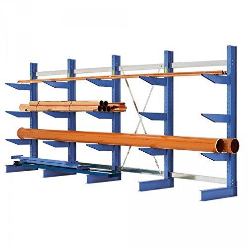 Kragarmregal, schwere Ausführung, einseitig, 4 Fachebenen, Tragkaft je Fachebene 2750 kg, HxBxT 2500 x 4315 x 400 mm, Achsmaß: 1060 mm