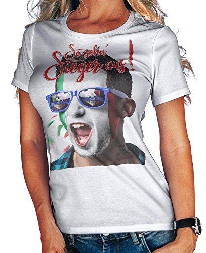 Stylotex Damen/Girlie T-Shirt So sehn Sieger aus Shout for Italien Italy, Größe:L, Farbe:Weiss