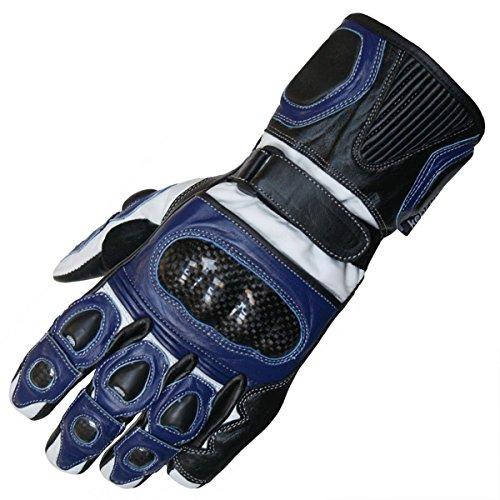 German Wear Motorradhandschuhe Motorrad Biker Handschue Lederhandschuhe in 3x Farben, Größe:11=XXL, Farbe:Blau