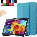 Infiland Galaxy Tab 4 10.1 Funda Case-Ultra Delgada Tri-Fold Smart Case Cover PU Cuero Smart Cascara con Soporte para Samsung Galaxy Tab 4 10.1 Wi-Fi/LTE 25,6 cm (10,1 pulgadas) SM-T530 SM-T535 Tablet-PC (con Auto Reposo / Activación Función)(Azul Claro)