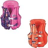 Bestway Swim Safe aufblasbare Schwimmweste, mit Textilbezug, für Kinder 3-6 Jahre (M/L), sortiert