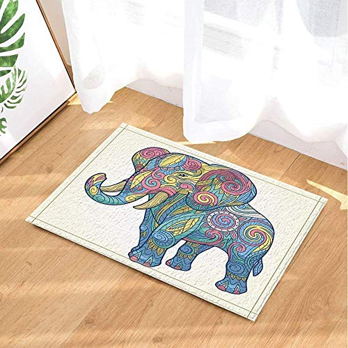 fdsdatrfet Colorful Elephant Cute Animalbathroom Anti-Slip Mat Mold Bathroom Bathroom Mat Bathroom Anti-Skid Children's Environmental Protection Quick-Drying Folding Bath Mat (Elephant Bambus-tisch)