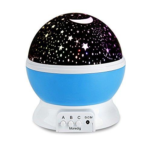 Sternen Projektor 360 Grad drehbares Sternennachtlicht romantisches Nachtlicht Projektion 4-LED-Leiste für Zuhause, Schlafzimmer, Kinderzimmer, Hochzeit, Geburtstag, Parties (Blau) (Led-licht-show-projektor)
