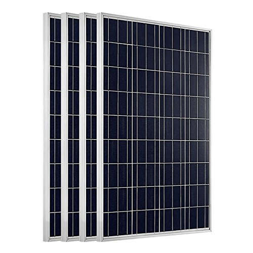 ECO-WORTHY 400W Solarpanel: 4 Stücke 100W Solarmodul Polykristallin Photovoltaik 12 Volt Solarzelle Ideal zum Aufladen von 12V 24V Batterien