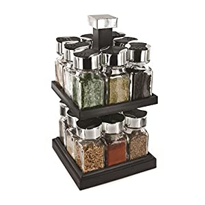 Saveur et Dégustation KB5755Round Spice Rack Tower Carousel with 16Pots/Glass Lids/Stainless Steel/Plastic 16,3x 16,3x 29cm Transparent/Black from CMPPA